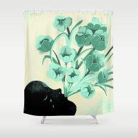 bonjour Shower Curtains featuring Bonjour tristesse by Sara Olmos - teconlene