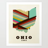 ohio state Art Prints featuring Ohio state map modern by bri.buckley