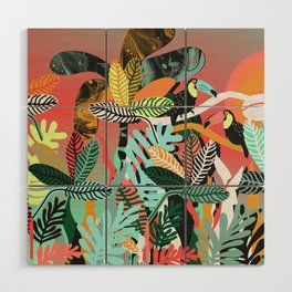 Sunset in the jungle Wood Wall Art