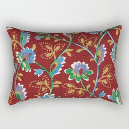 Red Folk Floral Rectangular Pillow