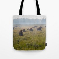 buffalo Tote Bags featuring Buffalo by Claire Laminen Photo