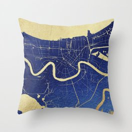 New Orleans Blue and Gold Map Throw Pillow
