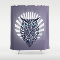 owl Shower Curtains featuring Owl by mark ashkenazi