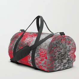 psychedelic geometric polygon shape pattern abstract in black and red Duffle Bag