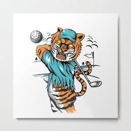 Tiger golfer WITH cap Metal Print