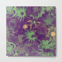 Deep Night Dramatic Flowery Pattern Metal Print