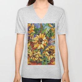 Midnight Sunflowers Unisex V-Neck