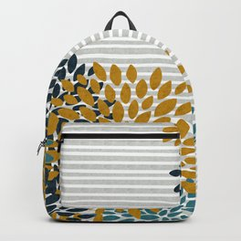 Floral Blooms and Stripes, Navy Blue, Teal, Yellow, Gray Backpack