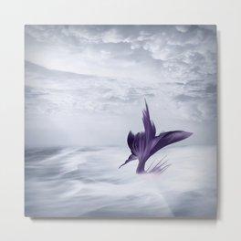 Mermaid Art, Ocean Print, Purple and Gray Metal Print