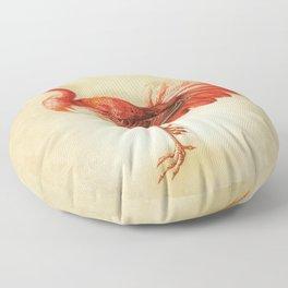 Vintage Coral Bird Floor Pillow