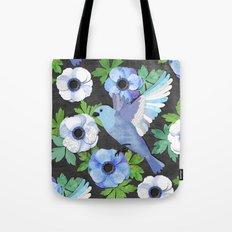 Blue Bird & Anemone Collage Tote Bag