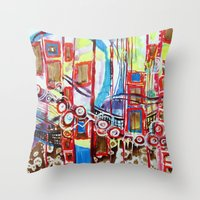 coasters Throw Pillows featuring Roller Coaster by Pajaritaflora, artist MaryAnn Ead