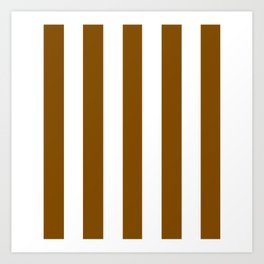 Dark bronze brown - solid color - white vertical lines pattern Art Print