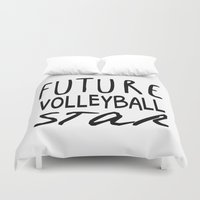 volleyball Duvet Covers featuring Future Volleyball Star by raineon
