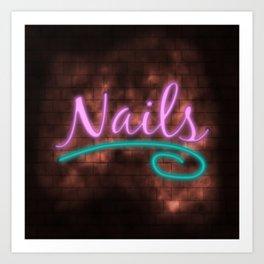 Neon Nails Sign Art Print