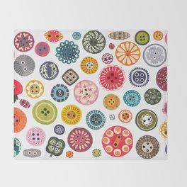 Vintage Button Love Throw Blanket