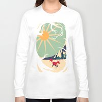 old Long Sleeve T-shirts featuring Fox roaming around II by Yetiland