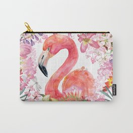 Flamingo in Tropical Flower Jungle Carry-All Pouch