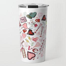 Circle composition of Valentine's Day theme doodle elements. Travel Mug