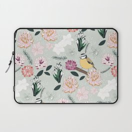 Joyful winter muted floral pattern with bird Laptop Sleeve