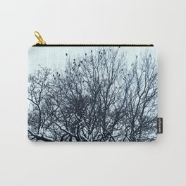 A flock of birds sitting on a tree on a winter day. Carry-All Pouch