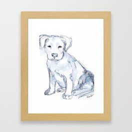 Pit Bull Puppy (for Kerry), watercolor Framed Art Print