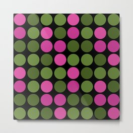 Pattern in pink and olive polka dots on black. Metal Print