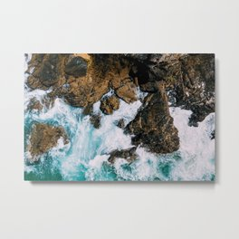 Ocean Waves Crushing On Rocky Landscape, Drone Photography, Aerial Landscape Photo, Ocean Wall Art Metal Print