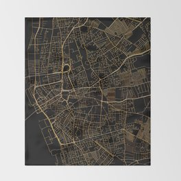 Black and gold Liverpool map Throw Blanket