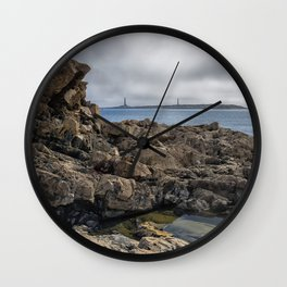 Twin lights cloudy day Wall Clock