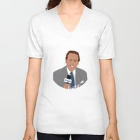 dana scully V-neck T-shirts featuring Vin Scully by Eric J. Lugo