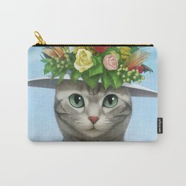 A cat wearing a flower hat Carry-All Pouch