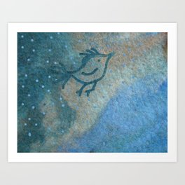 Primitive bird flying over a stream of wool in a rainy day Art Print