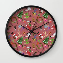 The Elements of Christmas (Pattern) (Red) Wall Clock