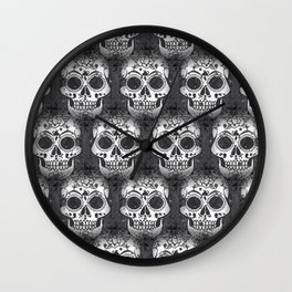 New skull allover pattern 1 Wall Clock