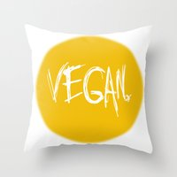 vegan Throw Pillows featuring Vegan. by Love Libby X