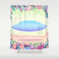 Floral UFO 1 Shower Curtain
