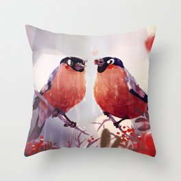 Bullfinch Love Throw Pillow