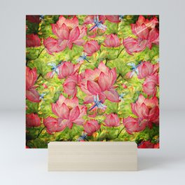 Floral Lotus Flowers Pattern with Dragonfly Mini Art Print