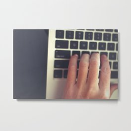 Typist From Above Metal Print