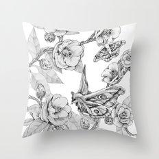 Moths & Camellias Throw Pillow