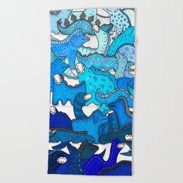 Blue Dinosaur Gradient Beach Towel
