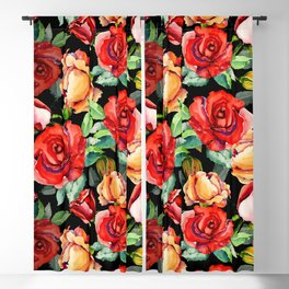 Hand painted black red watercolor roses floral Blackout Curtain
