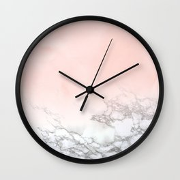 Blush Pink on White and Gray Marble III Wall Clock
