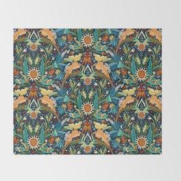 Victorian damask midnight Throw Blanket