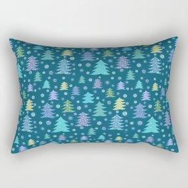 Winter Holidays Christmas Tree Green Forest Pattern Rectangular Pillow