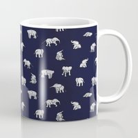 navy Mugs featuring Indian Baby Elephants in Navy by Estelle F