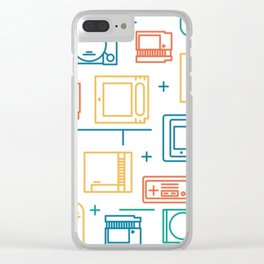 Retro Games Pattern Clear iPhone Case