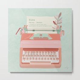Fika Typewriter Metal Print