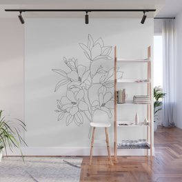Minimal Line Art Magnolia Flowers Wall Mural